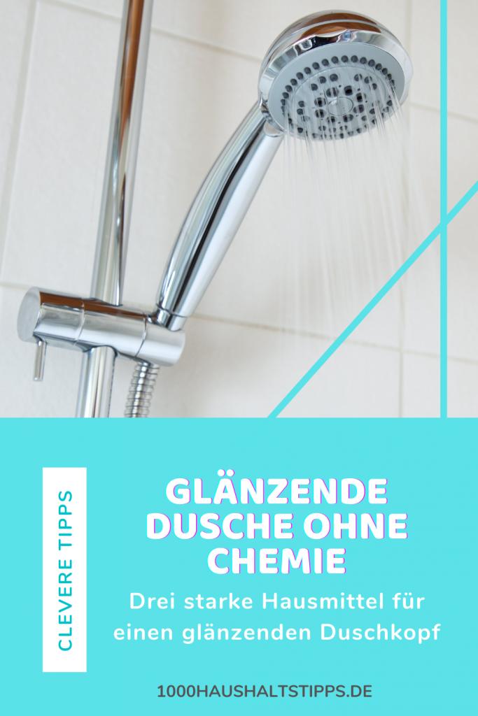glänzender duschkopf ohne chemie